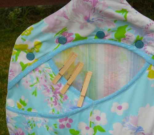Clothespin Bag - Upcycled Blue Floral Pillowcase