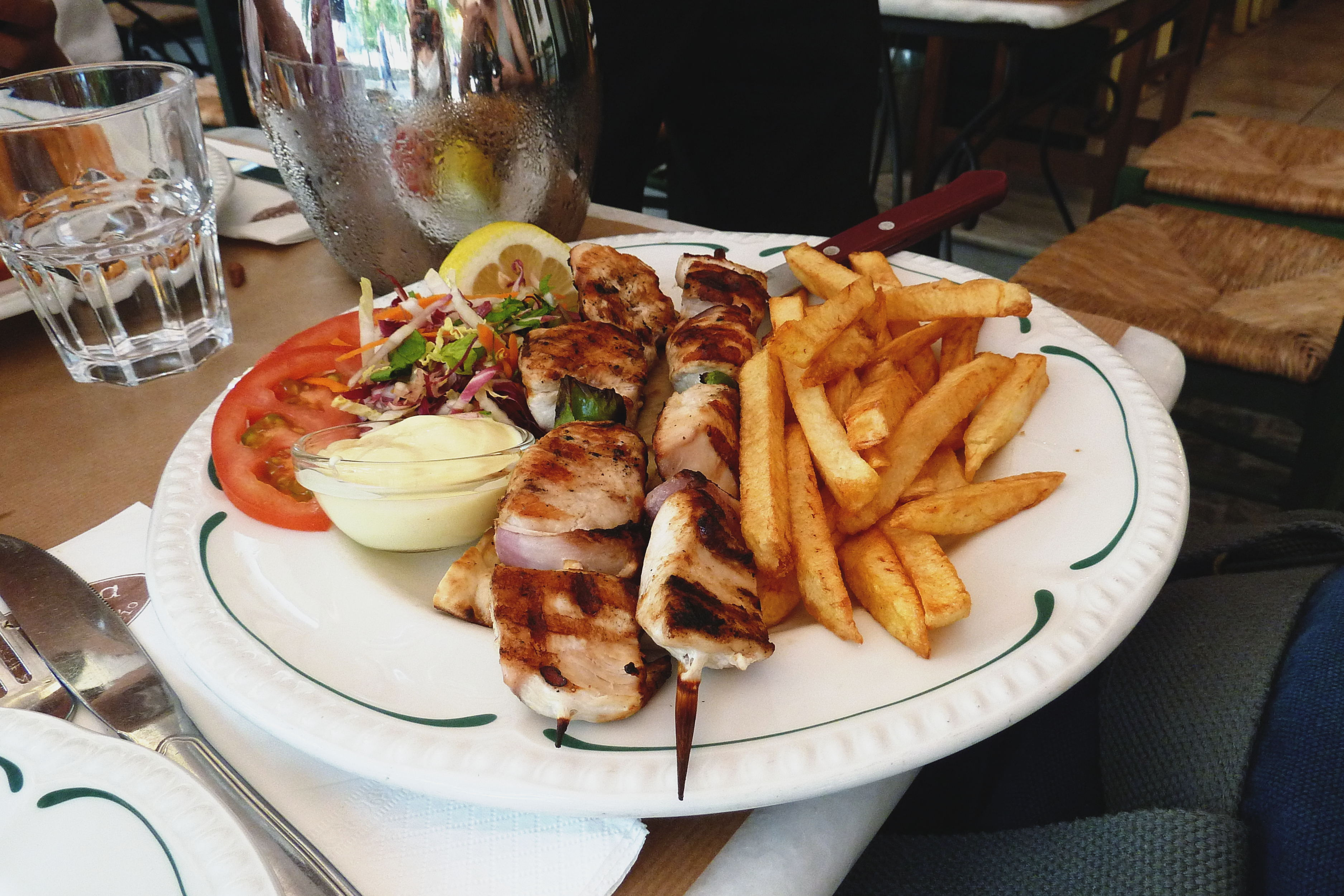 Sister's Chicken Souvlaki Plate, Dia Tauta, Athens