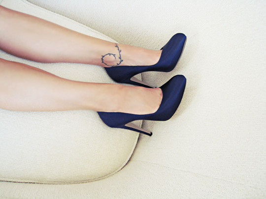 Blue Satin Shoes Navy