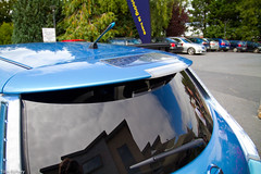 Nissan Leaf rear spoiler with solar panels