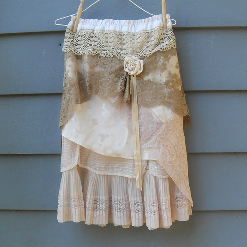 Layered Lace Garden Party Tea Skirt Upcycled Vintage Slip