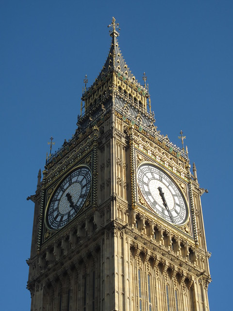 London Big Ben closeup with blue sky in background