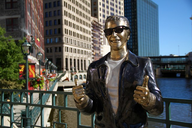 The Fonz wears sunglasses