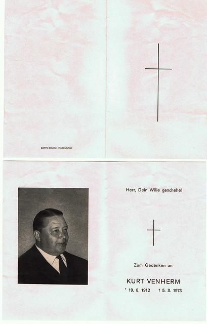 Totenzettel Venherm, Kurt † 05.03.1973