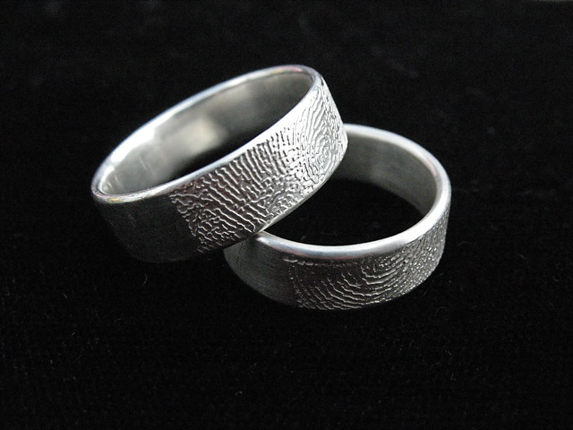 fingerprint wedding rings sterling ferric nitrate etch