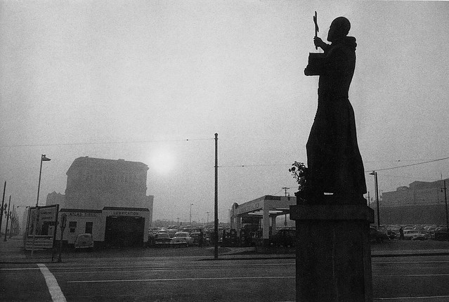 St. Francis, Gas Station and City Hall, Los Angeles, 1956, by Robert Frank