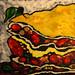 Vege Lasagne food painting for the vegetarian recipes cookbook by Australian artist Fiona Morgan