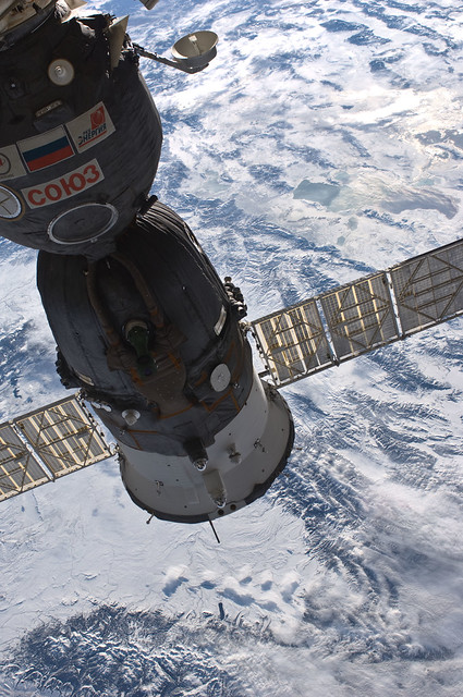 Soyuz and a Winter View of Earth (NASA, International Space Station, 01/05/11)
