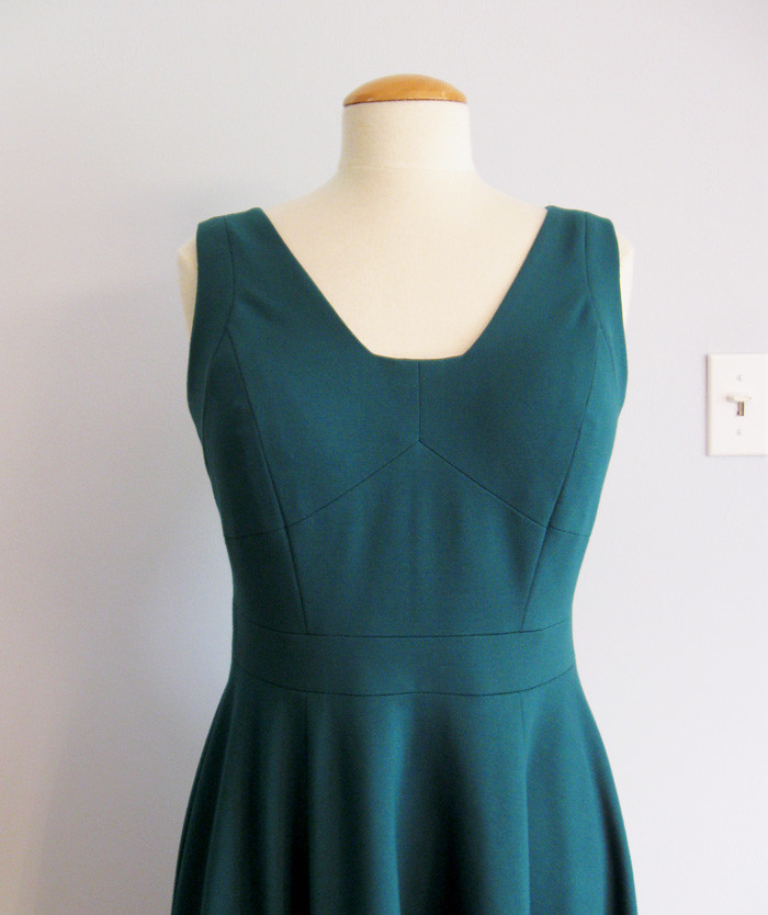 green ponte dress front close up