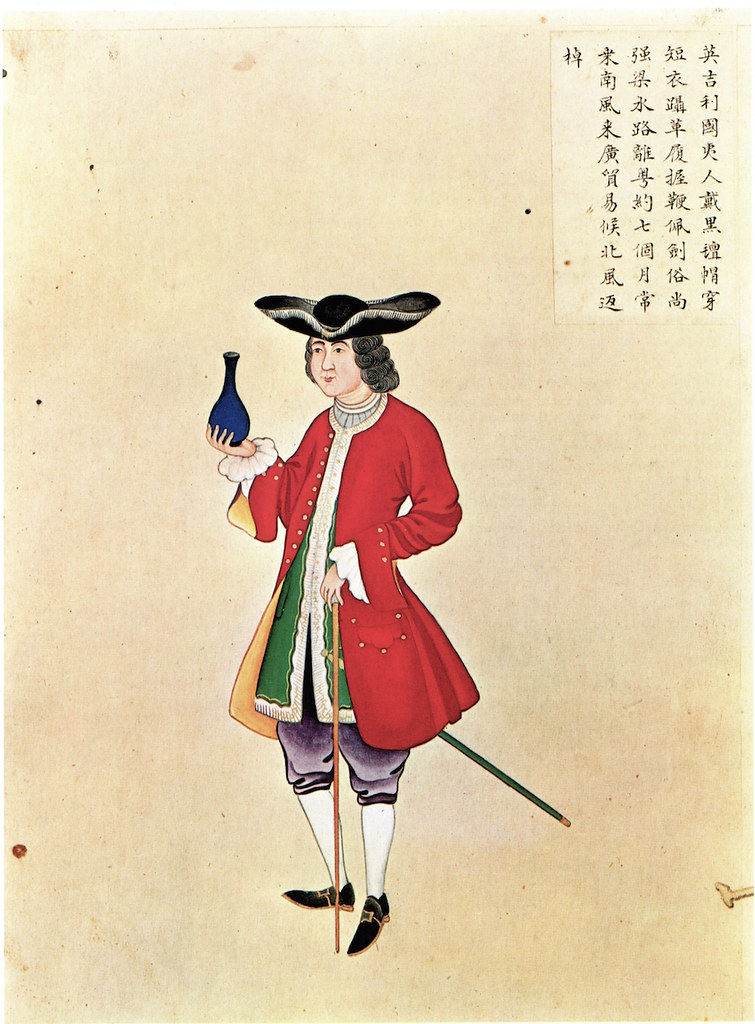 Anonymous Chinese Artist, The Englishmen, album leaf from a two-volume album, gouache watercolor on paper, c.mid-18th century. Source: Howard and Ayers, China for the West, 1978.