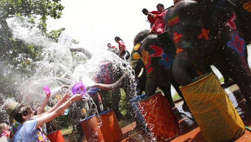Gajah-gajah ikut menyemburkan air ke para turis yang mengikuti perayaan Songkran 2017 di Ayutthaya, Thailand.