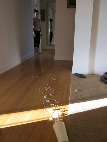 crushed ice, melting, bamboo floors IMG_1695