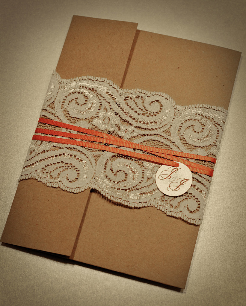 Photo Upload Wedding Invitations: Lace/Recycled Wedding Invitations