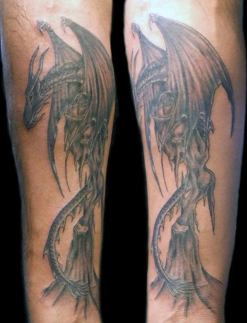 Black and Grey Dragon Tattoo