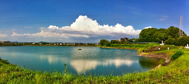 iPhone 4 panorama Olonoe PhotoEngine test: Atagoike Pond 兵庫稲美町愛宕池パノラマ -HDR-1