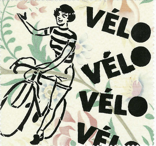 French Woman Cyclist, hand stenciled  fabric patch by Janet Bike Girl