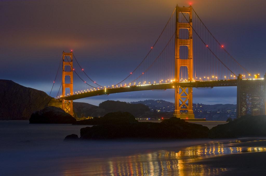 Baker Beach мост золотые ворота