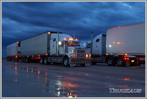 2 of HPS's Western Stars parked at Nullarbor Roadhouse after an early morning storm