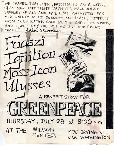 Fugazi, Ignition, Moss Icon, Nation of Ulysses punk hardcore flyer