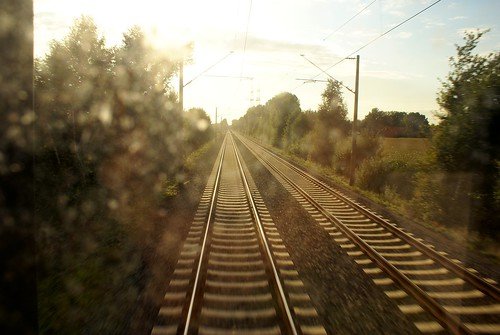 travel sunset moving railway eourpe