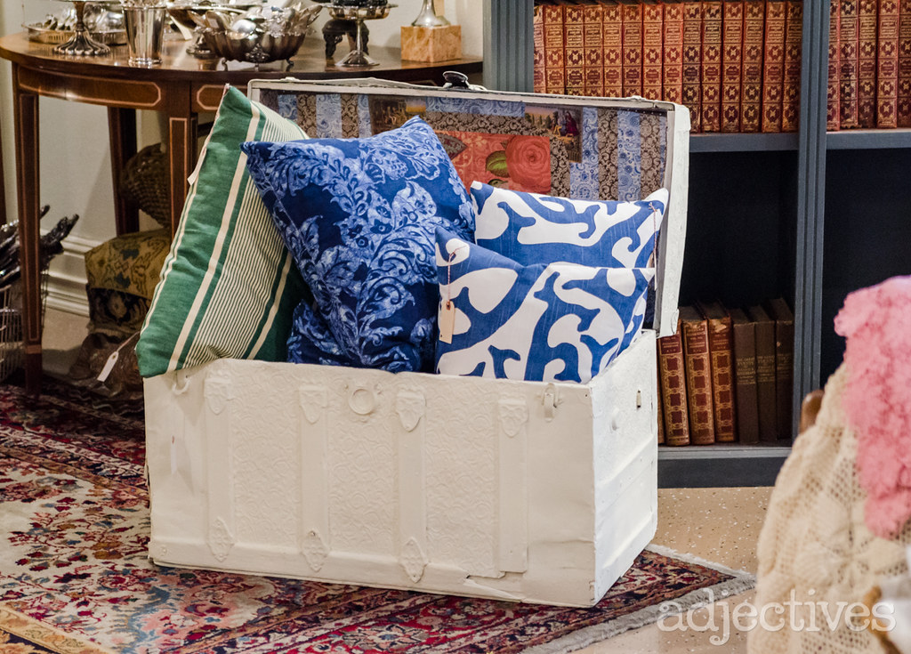 Decorative Pillows and vintage trunk by French Nest in Adjectives Winter Park