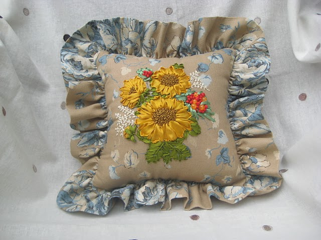 Silk ribbon embroidery pillow flickr photo sharing