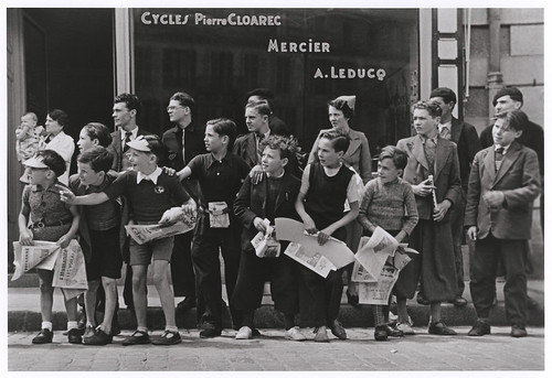 Cycling has a rich history in Brittany. Robert Capa took this photo in Pleyben during the 1939 Tour de France. It was taken in front of the bicycle shop owned by Pierre Cloarec, one of the cyclists in the race. Photo: fixed gear