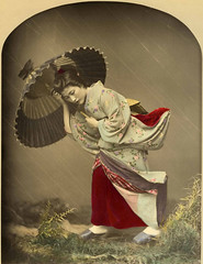 Geisha in Heavy Storm (in studio), by Kusakabe Kimbei c.1885