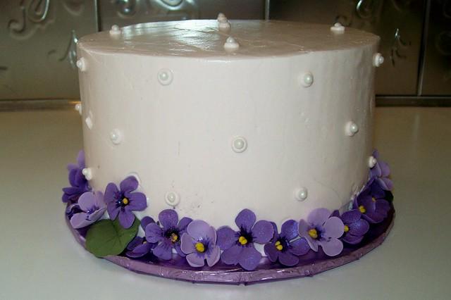 Birthday Cake with Gumpaste Violets  Flickr - Photo Sharing!