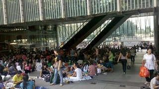 Rest day for migrant workers in Hong Kong; @HSBC Building Central