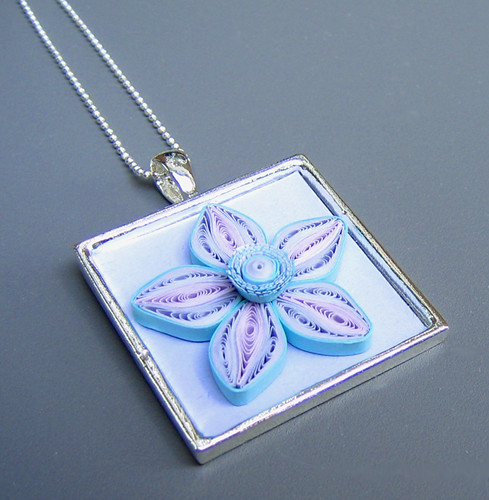 quilled cherry blossom necklace tutorial by Ann Martin