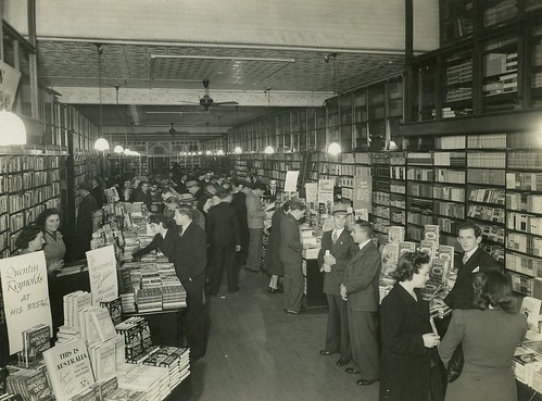 People milling about in a bookshop