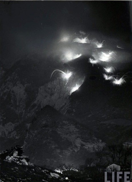 Nightime artillery barrage by Allied forces in the Apennines, Itlay, by Margaret Bourke-White 1945