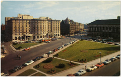 The Sheraton Plaza Hotel in Copley Square with Boston Public Library at Right [front]