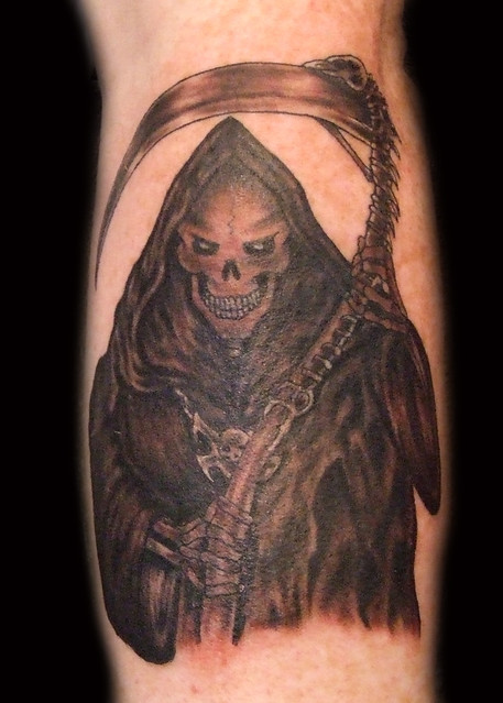Black and Grey Grim Reaper Tattoo