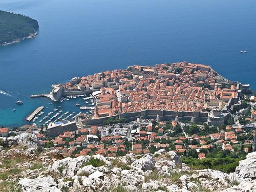 Dubrovnik, óváros látképe a Srđ Dombról