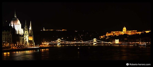 Night view of Danube River,