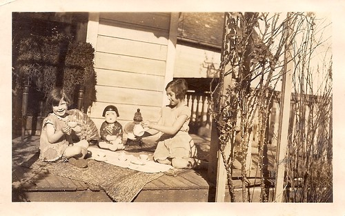 Little girls having a tea party