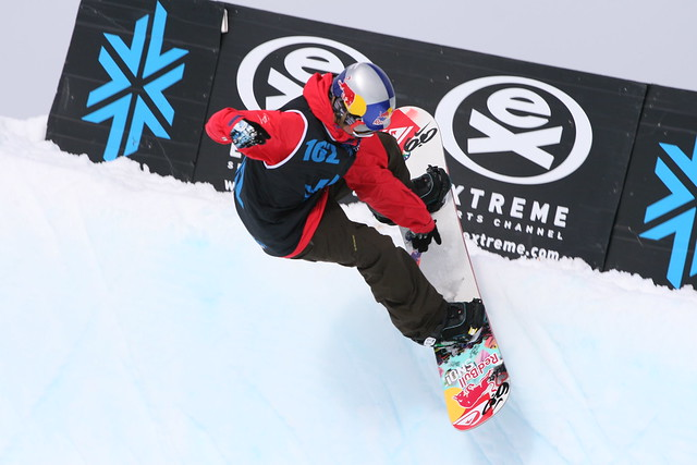 Jamie Nicholls on his winning run in the Halfpipe Final at The Brits 2010, Laax, Switzerland