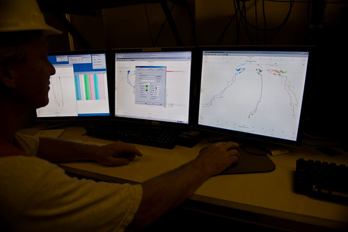 August 2010, Monitors displaying real-time data transmitted from the CTD