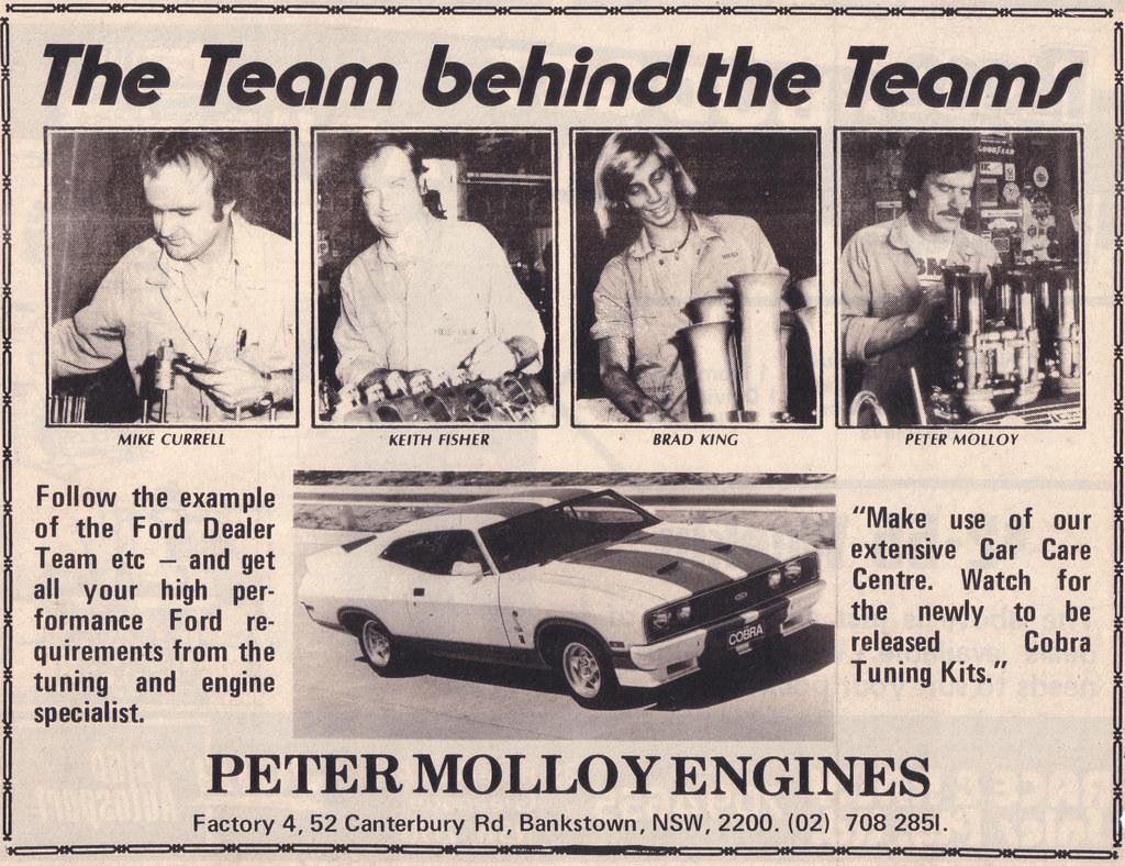 1978 Ford Xc Cobra Engine Builders Allan Moffat Racing Ad Australia Engines