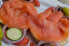 meal, salmon, fish, lox, food, dish, cuisine, smoked salmon,
