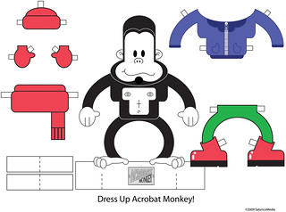 Acrobat Monkey Paper Doll - Print Your Own!