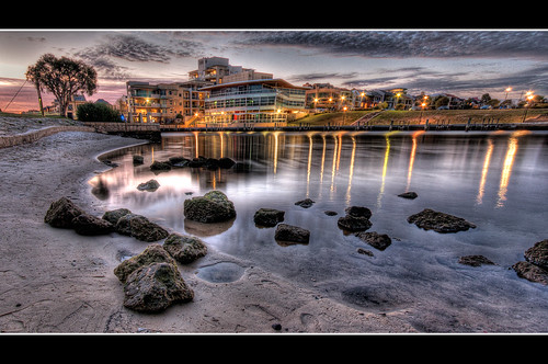 sunset beach reflections lights bay sand nikon rocks inlet hdr highdynamicrange eastperth d90 3exposures
