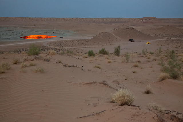 camping at Darvaza, Turkmenistan