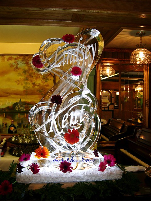 Ice Sculpture Double Hearts Luge With Names Amp Flowers