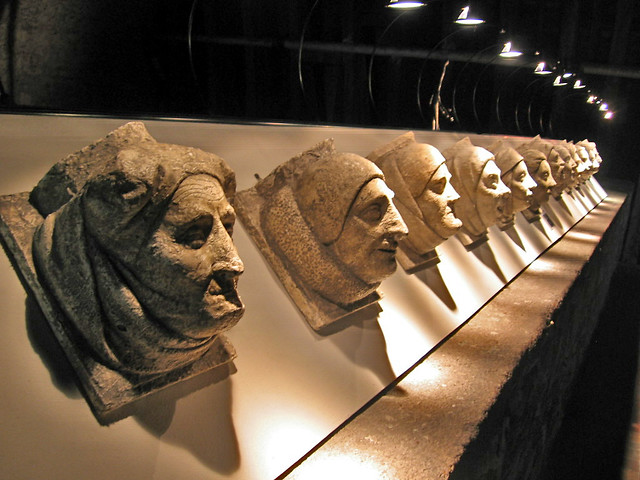 Carved heads, Palais Jacques Coeur, Bourges, France