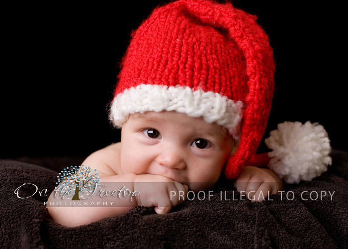 287f53d7a7b ... Custom Knit Red and White Long Stocking Christmas Santa Hat with Pompom  for Newborn and Baby