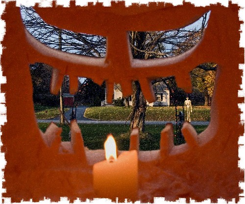 abstract tree halloween pumpkin skeleton candle jackolantern inside processed porchpumpkins