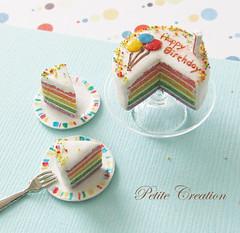 Rainbow Birthday Cake - 1/12th Scale Dollhouse Miniature